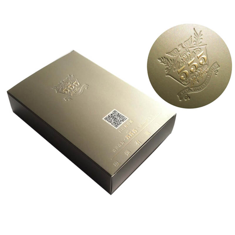 Cardboard paper box with embossed logo