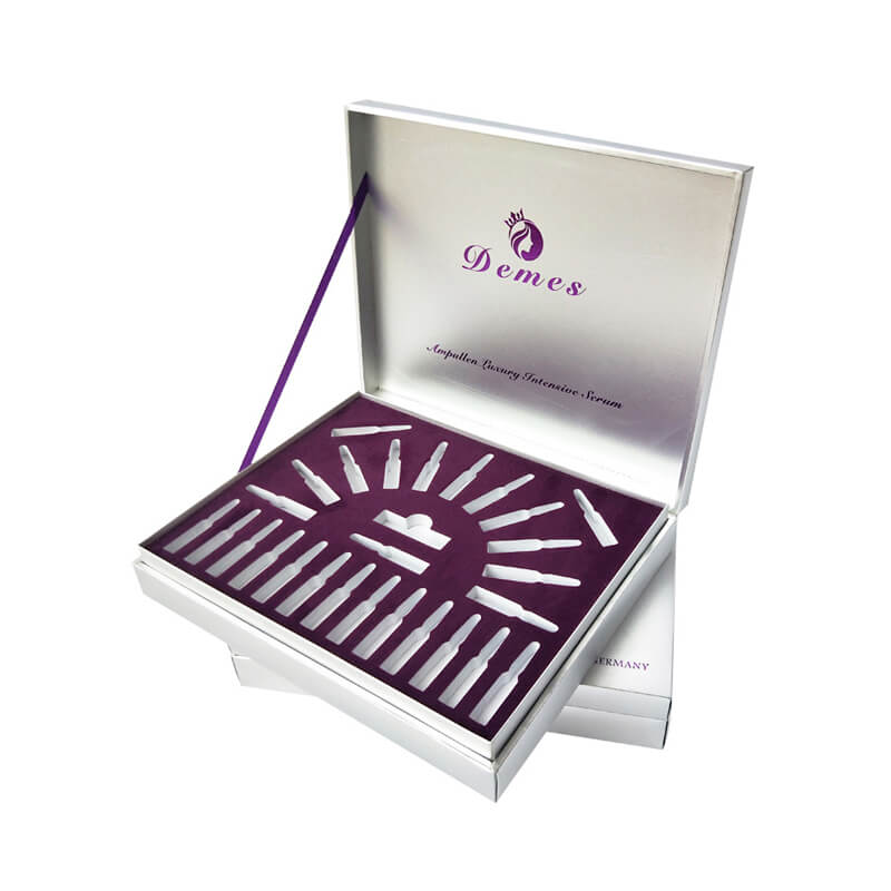 Purple color foil stamping cosmetic box