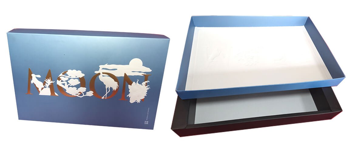 Cardboard top bottom box with paper insert for mooncake packaging