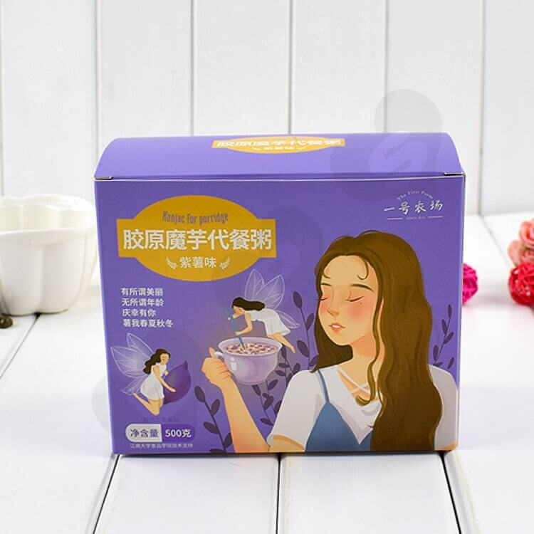 Color Printed Cardboard Box For Substitute Porridge side view three