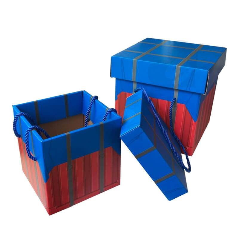 Color Printed Corrugated Box PUBG Air Drop package For Wine side view six