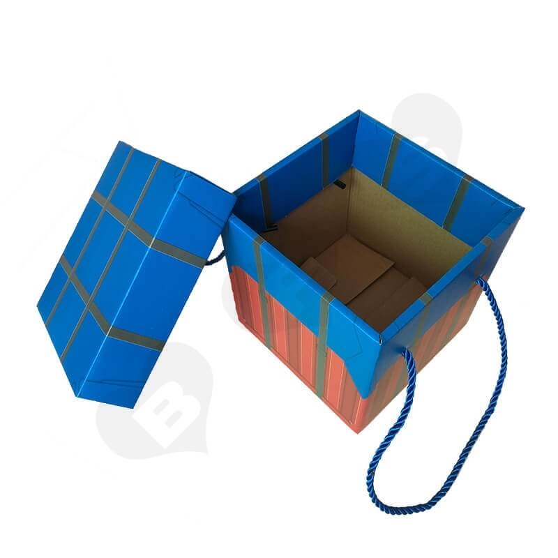 Color Printed Corrugated Box PUBG Air Drop package For Wine side view two