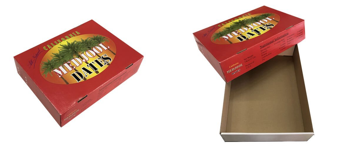 Corrugated lid and tray fruit packaging boxes for medjool dates