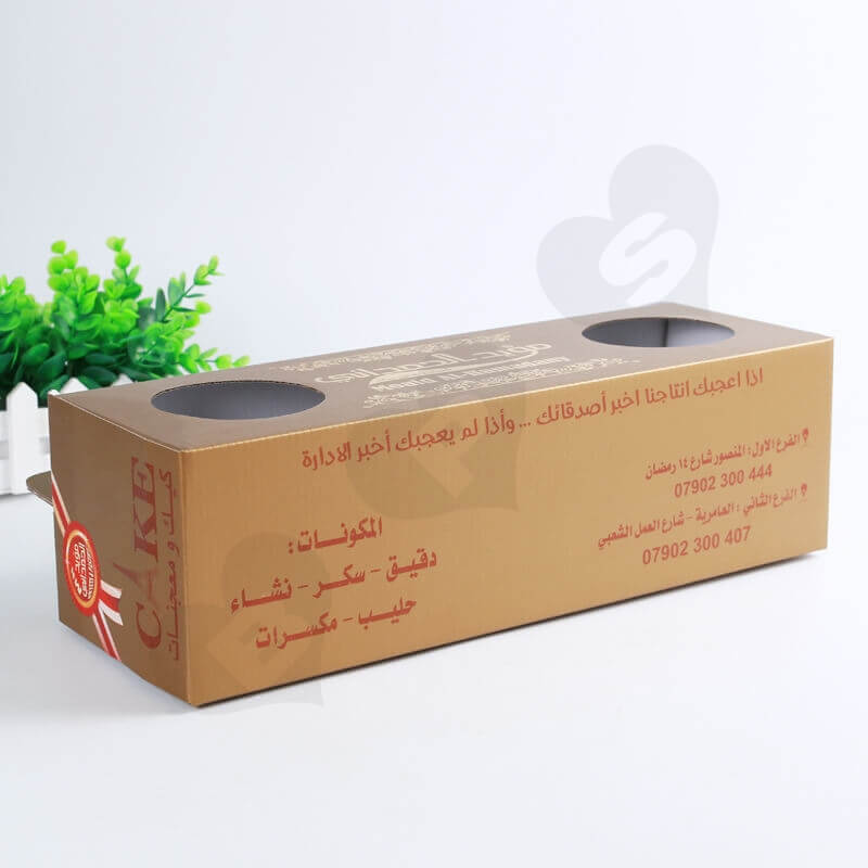Custom Printing Corrugated Paper Box with Handle For Cake side view five