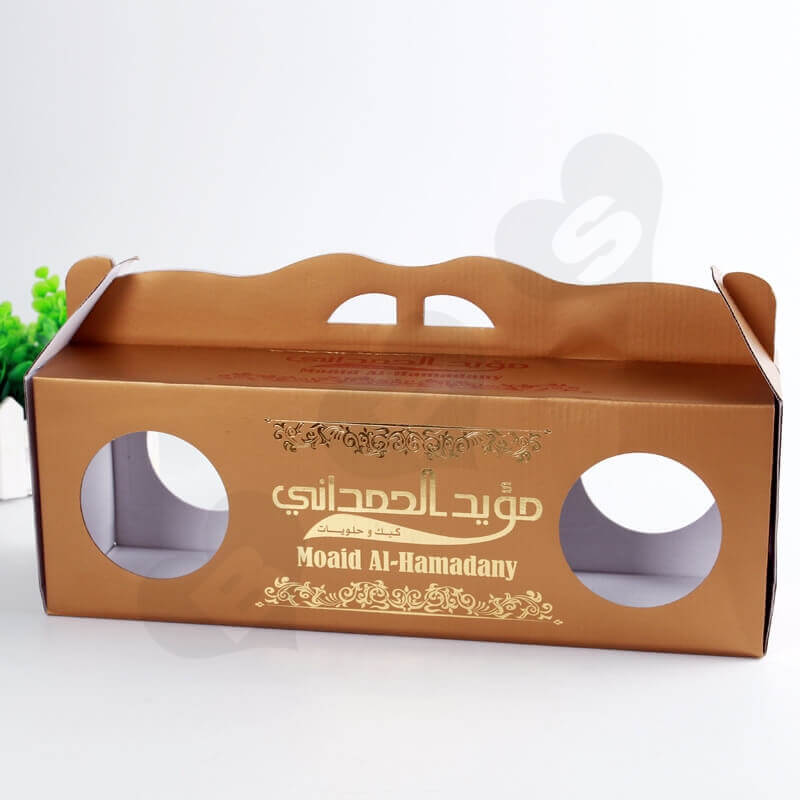 Custom Printing Corrugated Paper Box with Handle For Cake side view four
