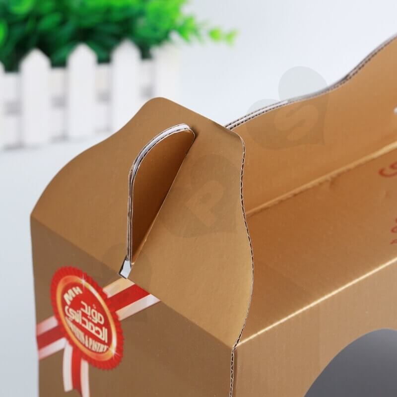 Custom Printing Corrugated Paper Box with Handle For Cake side view six
