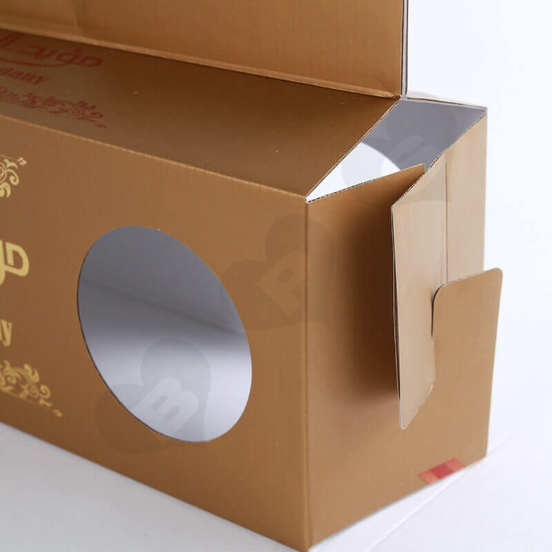Custom Printing Corrugated Paper Box with Handle For Cake side view two