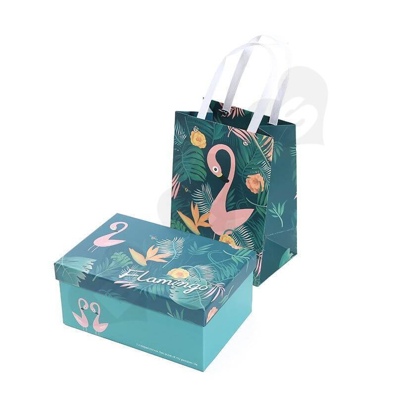 Custom Printing Gift Box with Paper Bag For Flamingo Toys side view two