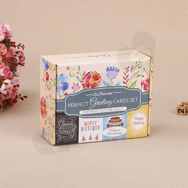 Full Color Printed Corrugated Paper Box For Greeting Cards Set side view one