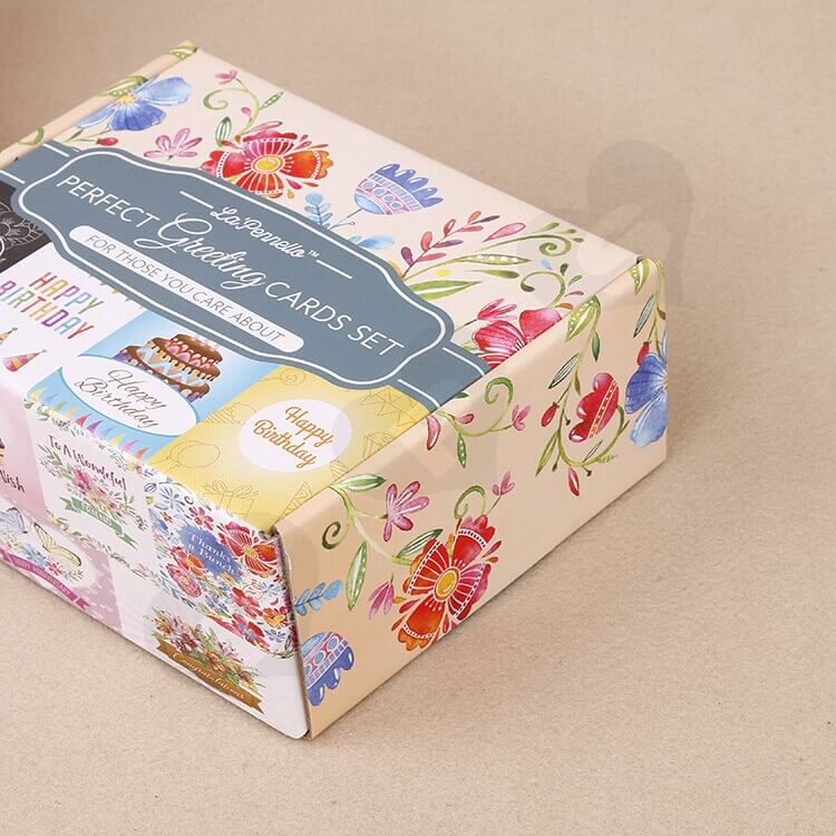Full Color Printed Corrugated Paper Box For Greeting Cards Set side view three