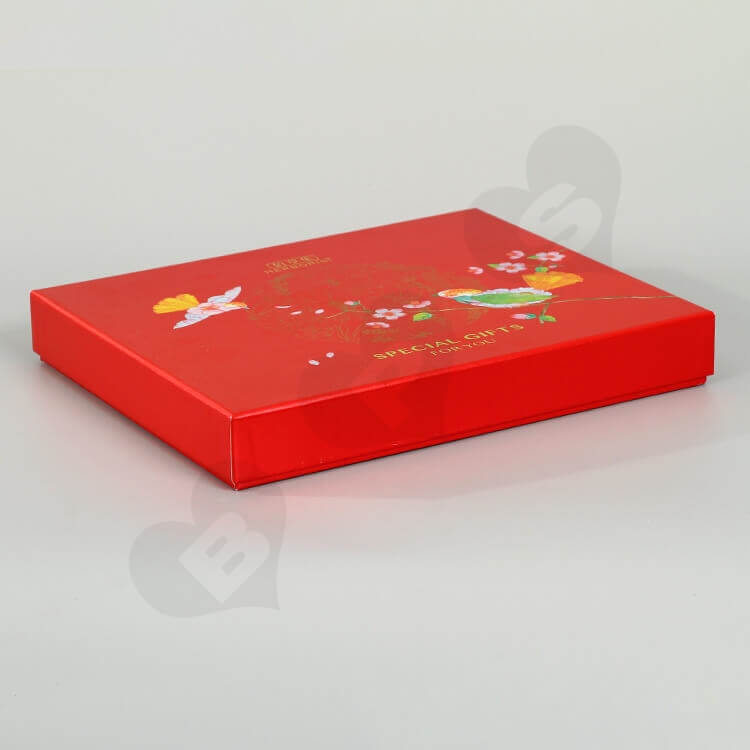 Glossy Red Cardboard Gift Box For Skin Care Product side view seven