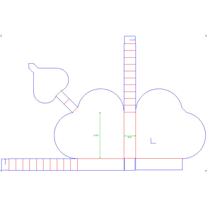 Heart Shape Box Printed Dieline Template