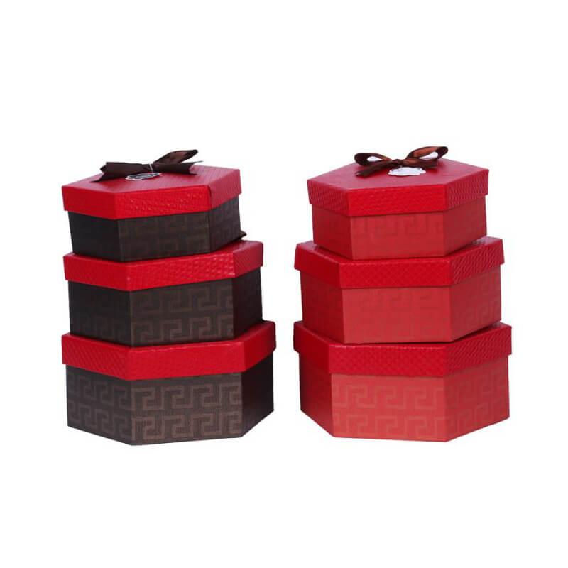 Hexagon Gift Packaging Rigid Box With Ribbon