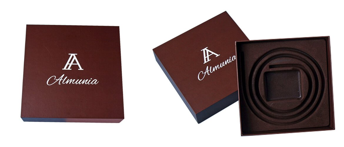Luxurious cardboard top and bottom box with foam insert for belt packing