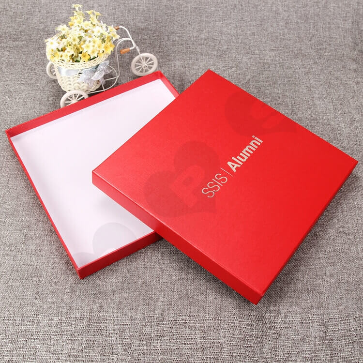 Luxury Rigid Gift Box For Souvenir Silver Foil Stamping side view one