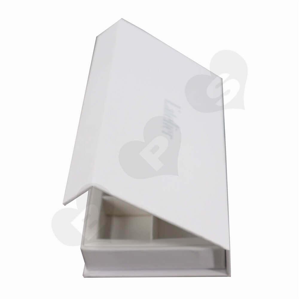 Matt White Chocolate Box with Magnet Closure side view three