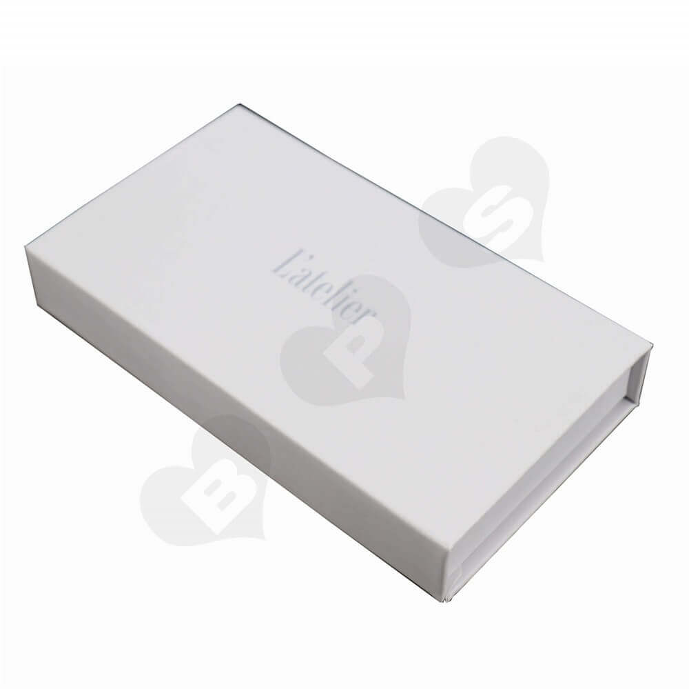 Matt White Chocolate Box with Magnet Closure side view two
