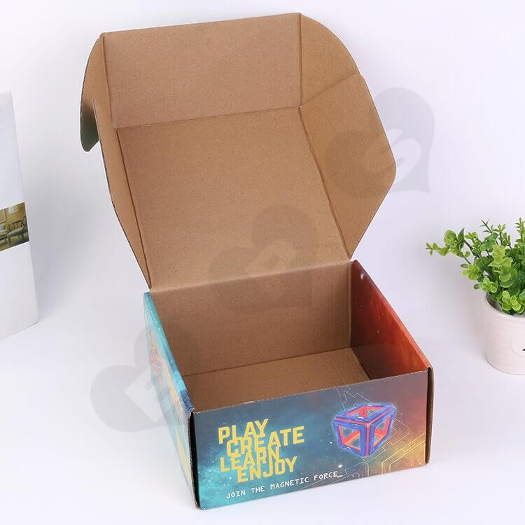 Printed Corrugated Mailer Box For Magnetic Building Set side view two