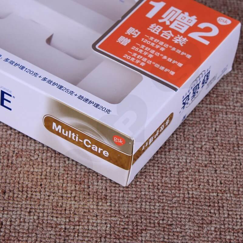 White Cardboard Printed Box For Toothpaste side view four