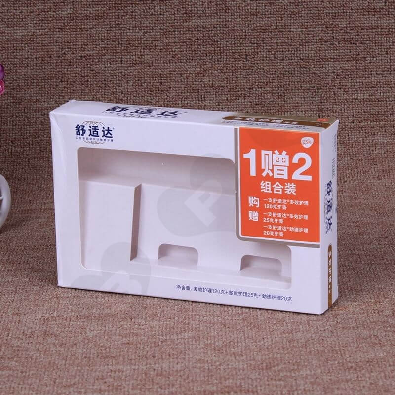 White Cardboard Printed Box For Toothpaste side view one