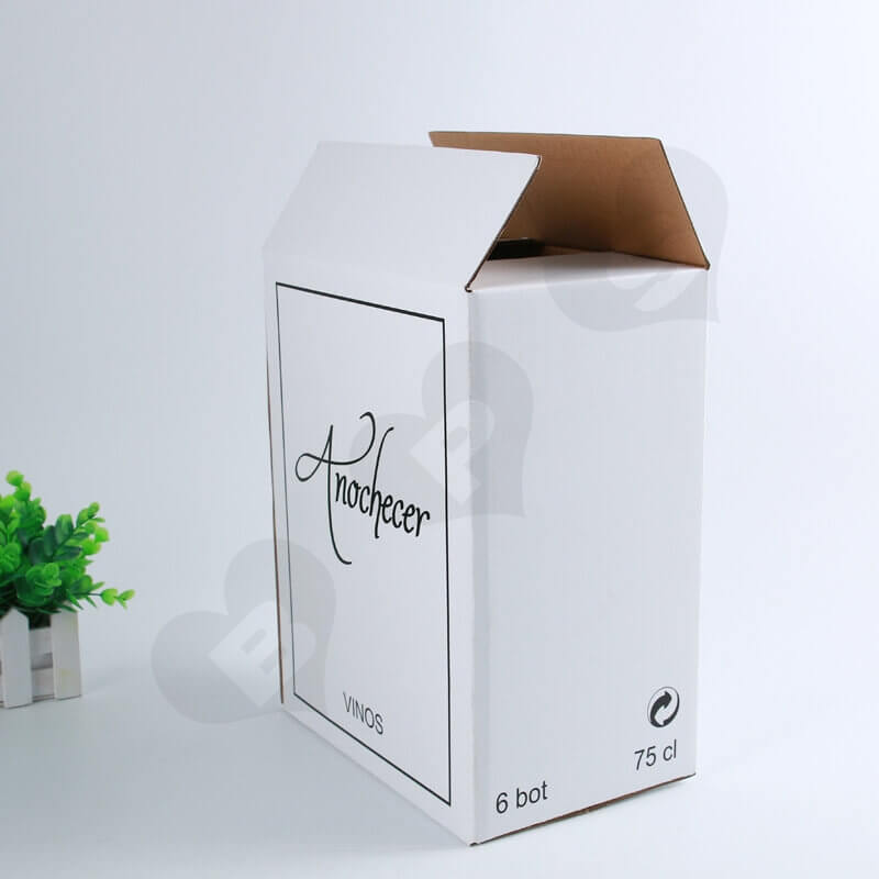 White Kraft Shipping Box For Wine side view four