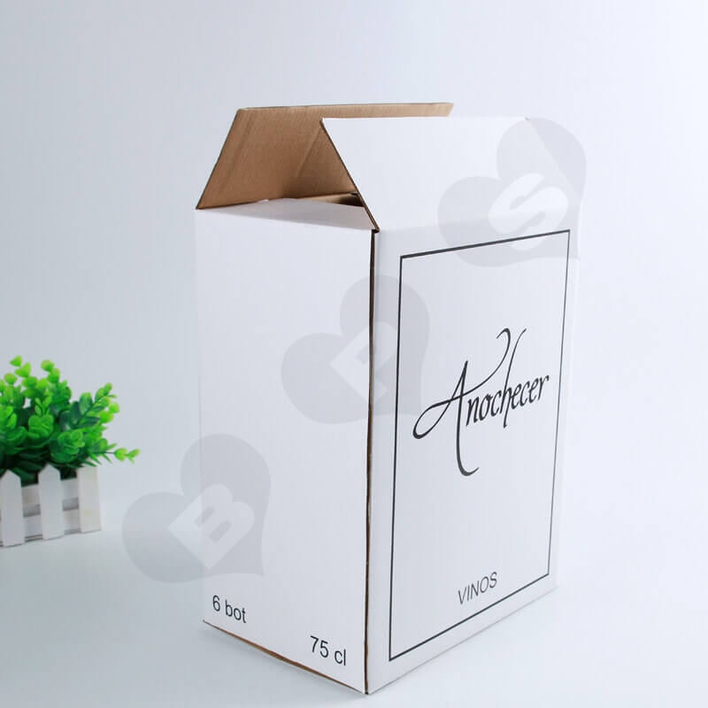 White Kraft Shipping Box For Wine side view one