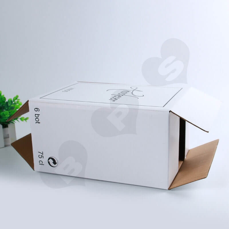 White Kraft Shipping Box For Wine side view three