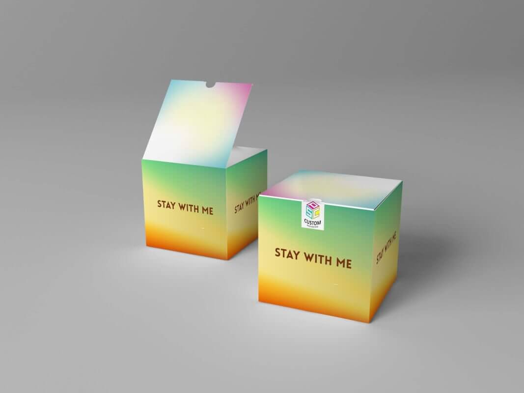 branded paper box snap bottom mockup