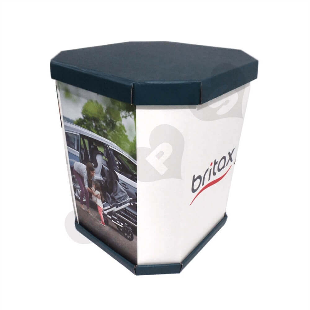 Corrugated Dump Bin with Insert and Removable Lid Sideview One