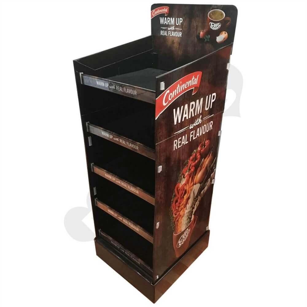 Corrugated Floor Stand POP Snack Shelf Sideview One