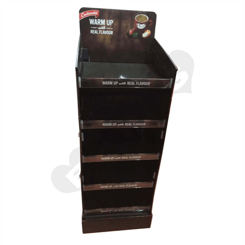 Corrugated Floor Stand POP Snack Shelf Sideview Two