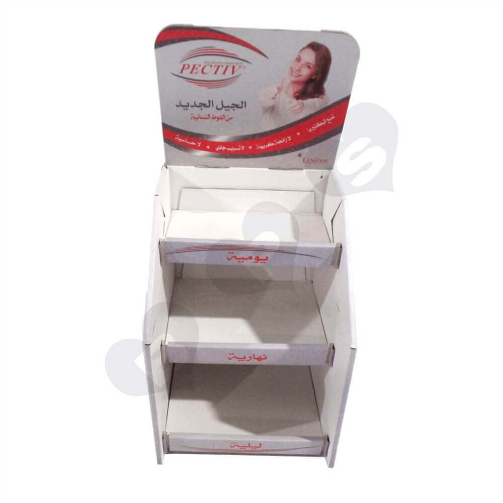Corrugated Sanitary Napkin Display Shelves Sideview One