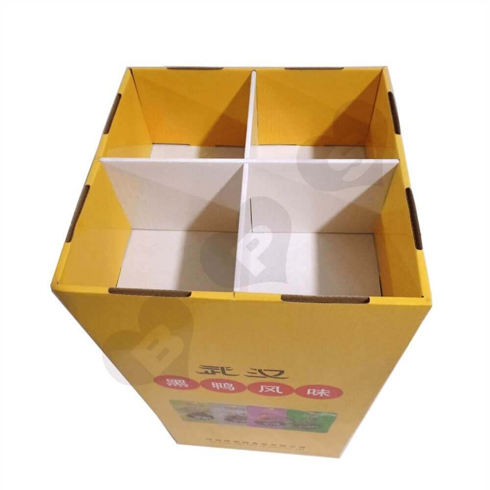 Custom Corrugated Dump Bin for Food Sideview Four