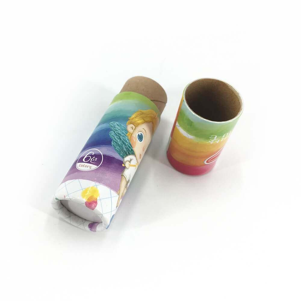 Custom Printed Crayon Cardboard Cylinder Side View Four