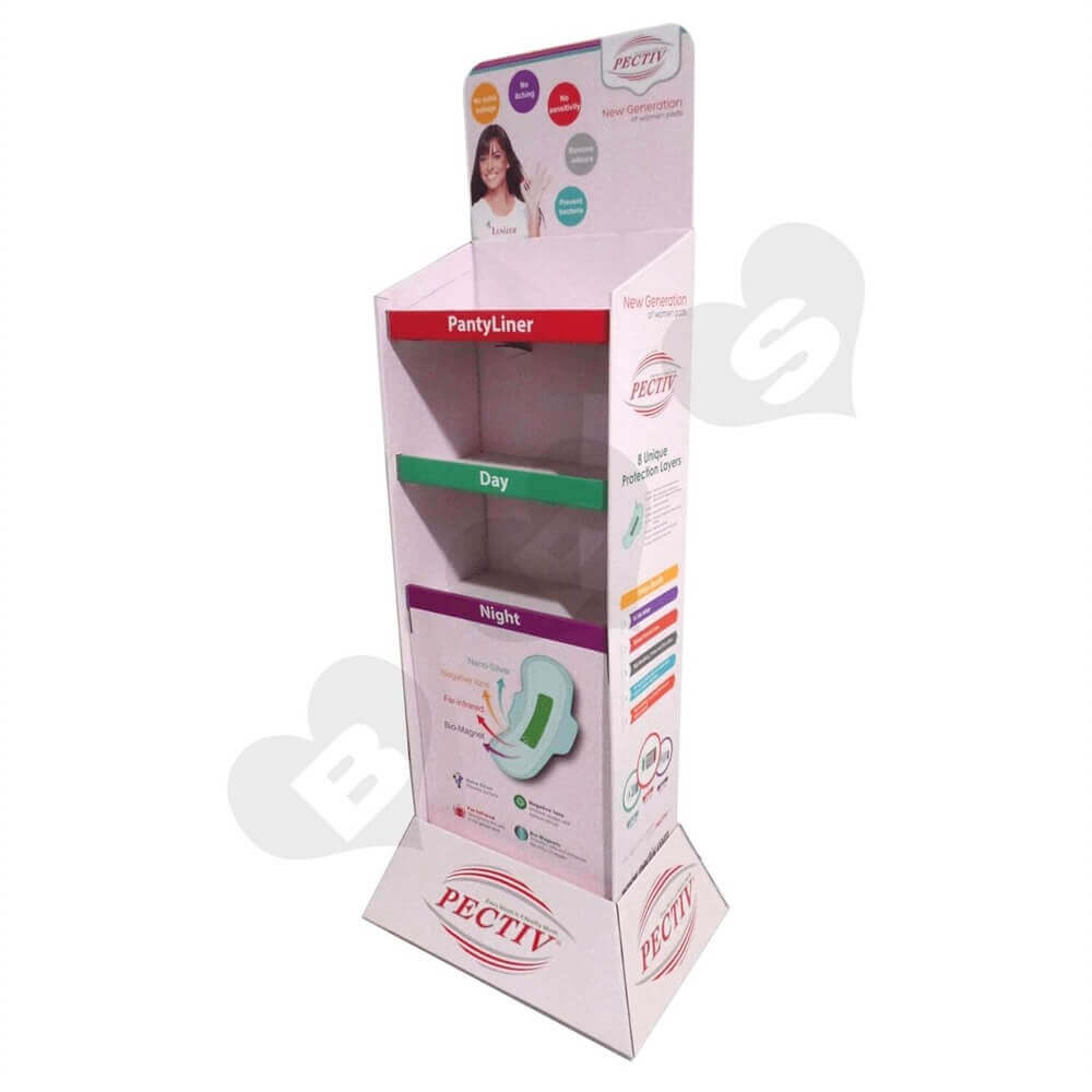 Large Sanitary Napkin Corrugated Floor Stands Sideview Five