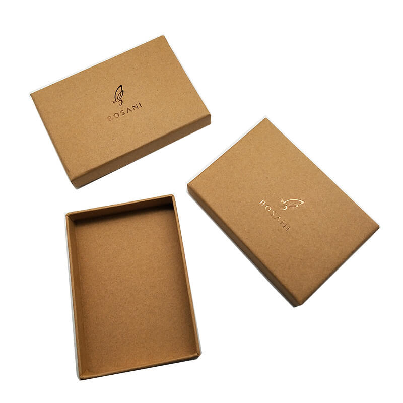 Kraft Paper Made Rigid Cardboard Telescopic Gift Box With Gold Foil Stamping