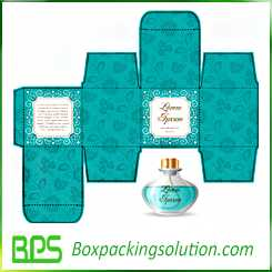 blue perfume bottle packaging box design