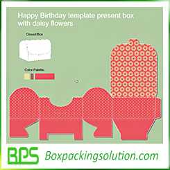 happy birthday template present box with daisy flowers