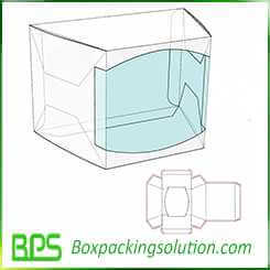 paperboard box with clear plastic window design template