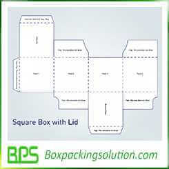 square box with lid design template