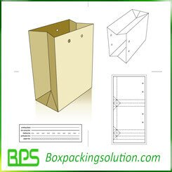 take-away paper bag die line template