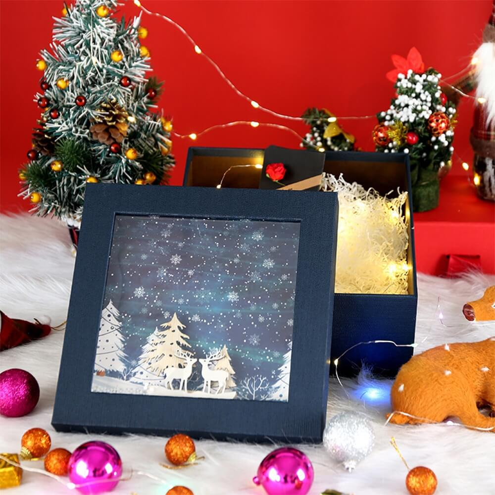 3D Effect Christmas Season Apparel Packaging Box Side View Eight