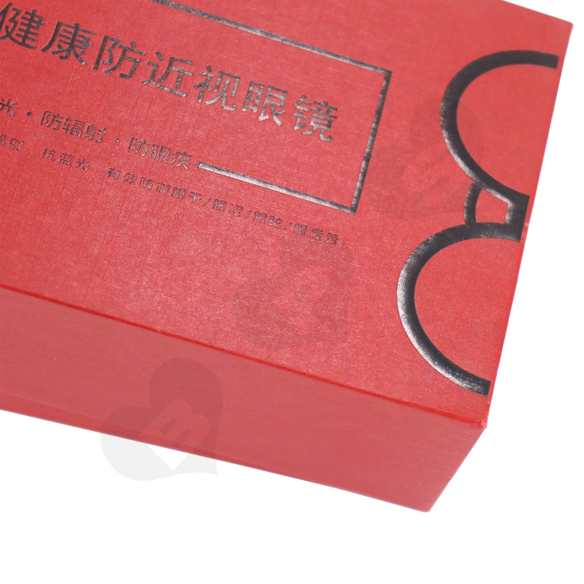 Cardboard Foil Stamping Rigid Set-Up Box For Packing Anti-Myopia Glasses Side View Two
