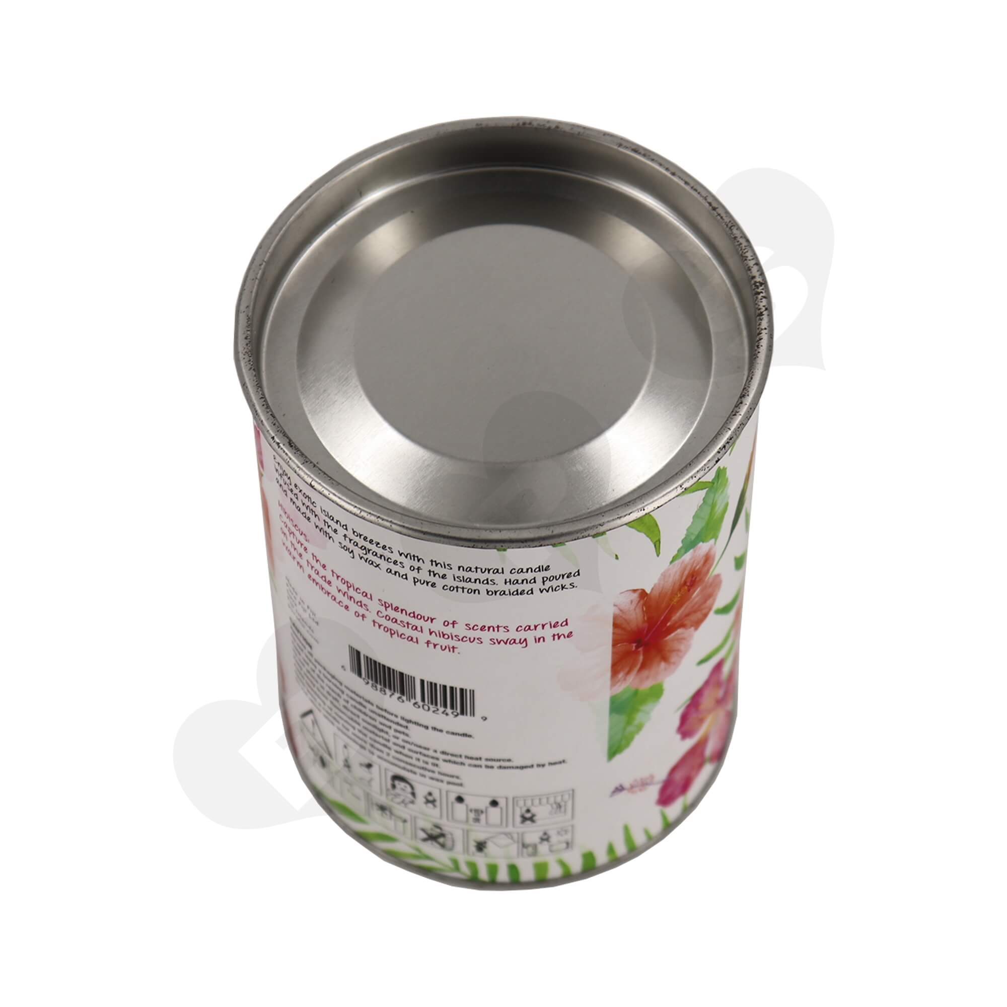 Cardboard Paper Tube With Tin Cap For Packing Scented Candle Side View Two