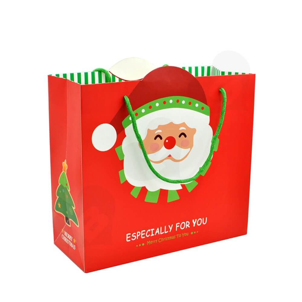 Chrismas Color Printed Paper Bags Side View Five