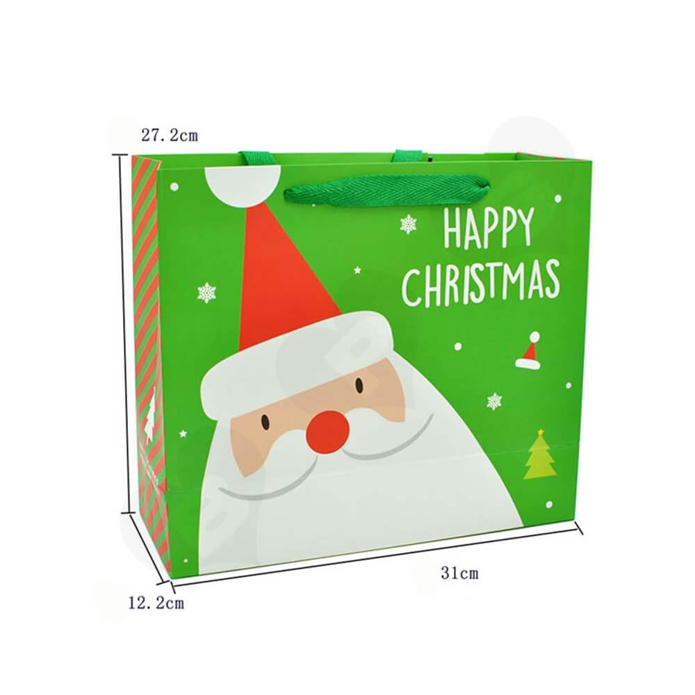 Chrismas Color Printed Paper Bags Side View Three