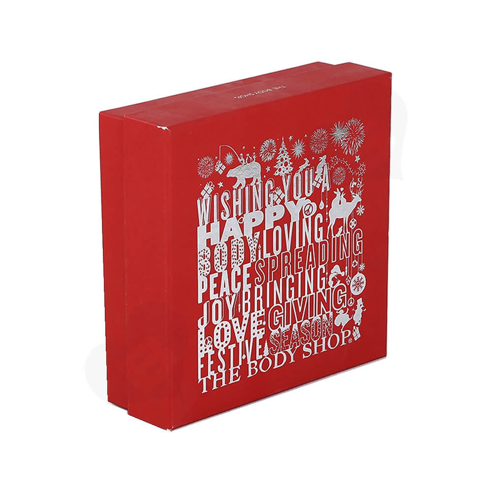 Christmas Color Box For Cosmetic Product With Blister Insert Side View Three