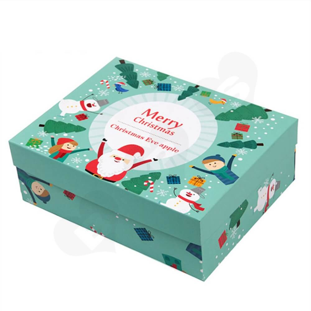 Christmas Eve Apple Gift Packaging Box With Lift Off Lid Side View Five