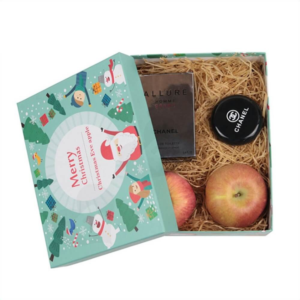 Christmas Eve Apple Gift Packaging Box With Lift Off Lid Side View Four