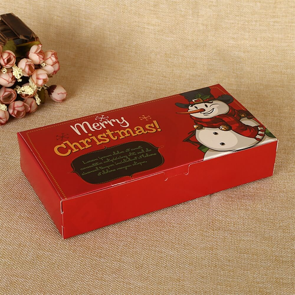 Christmas Red Color Printed Box For Gifts Side View Three